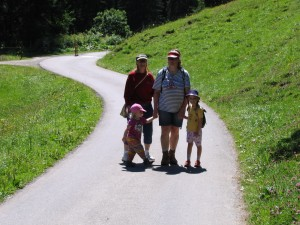 Lisbeth and family in tow on our first mountain treck